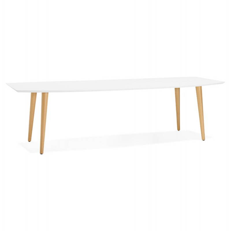 Table manger style scandinave avec rallonges trine en for Table a manger bois blanc
