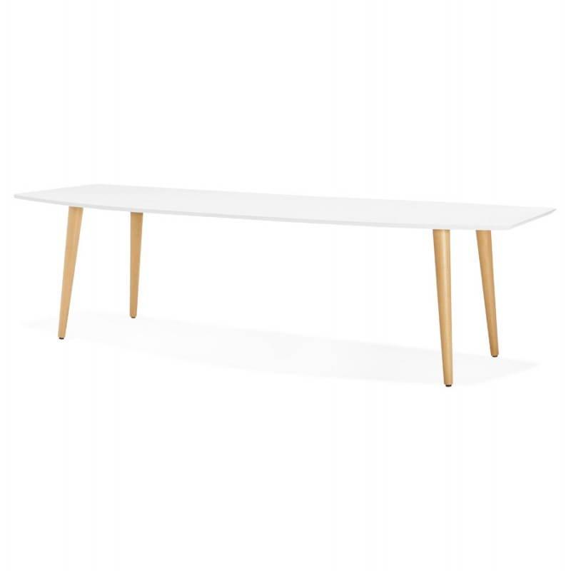 Table à manger style scandinave avec rallonges TRINE en bois (170/270cmX100cmX74,8cm) (blanc) - image 28179