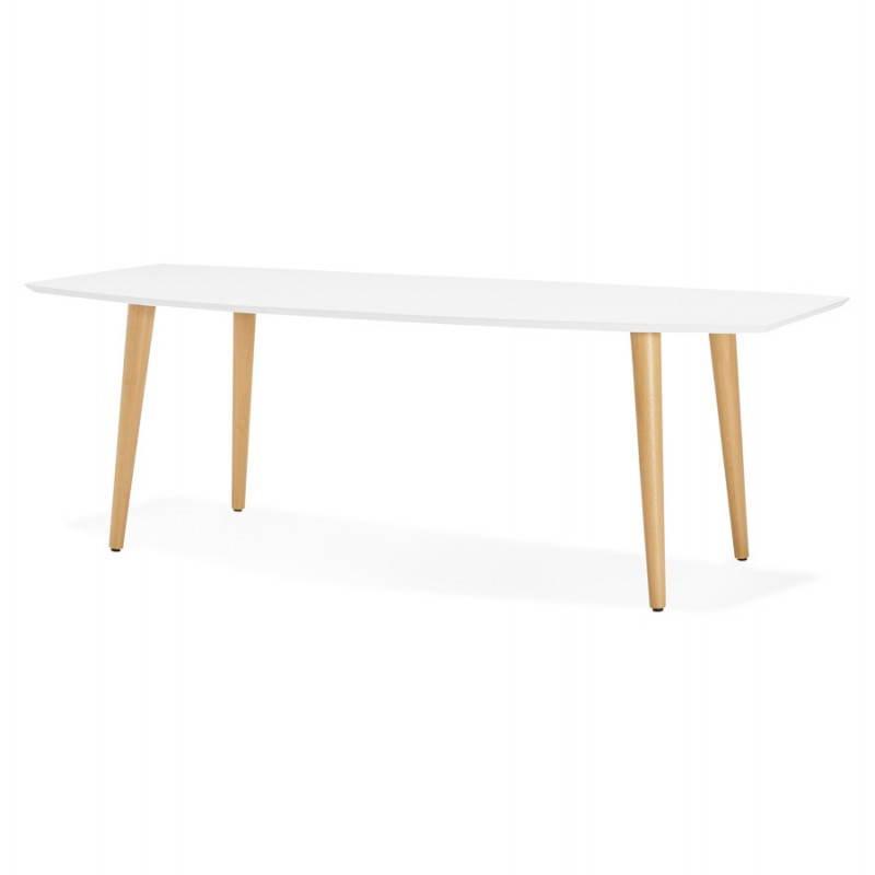 Table à manger style scandinave avec rallonges TRINE en bois (170/270cmX100cmX74,8cm) (blanc) - image 28183
