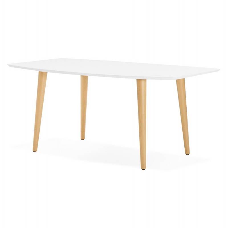 Table à manger style scandinave avec rallonges TRINE en bois (170/270cmX100cmX74,8cm) (blanc) - image 28187