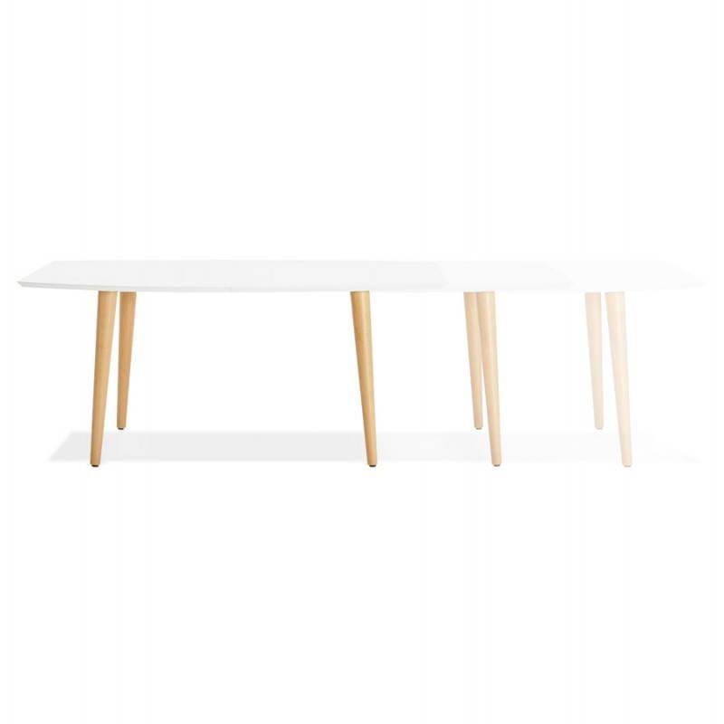 Table à manger style scandinave avec rallonges TRINE en bois (170/270cmX100cmX74,8cm) (blanc) - image 28190