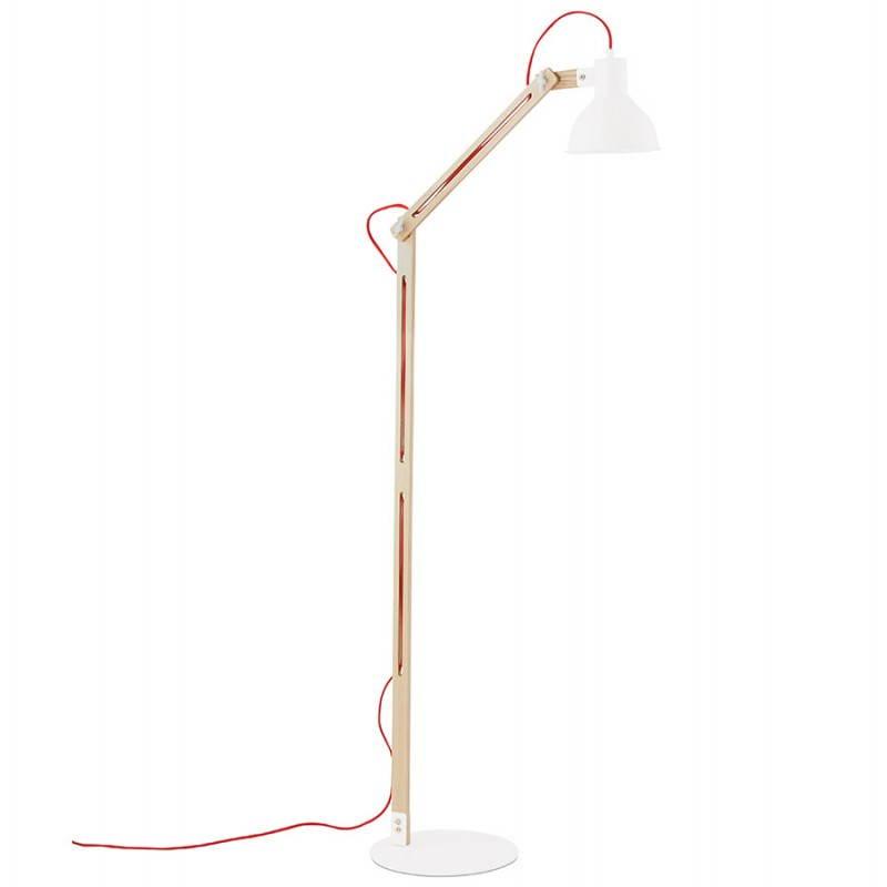 Lampada da terra design LOFT in metallo e legno (naturale, bianco) - image 28205