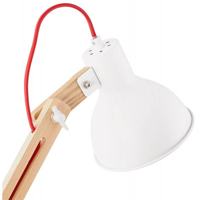 Lampada da terra design LOFT in metallo e legno (naturale, bianco) - image 28211