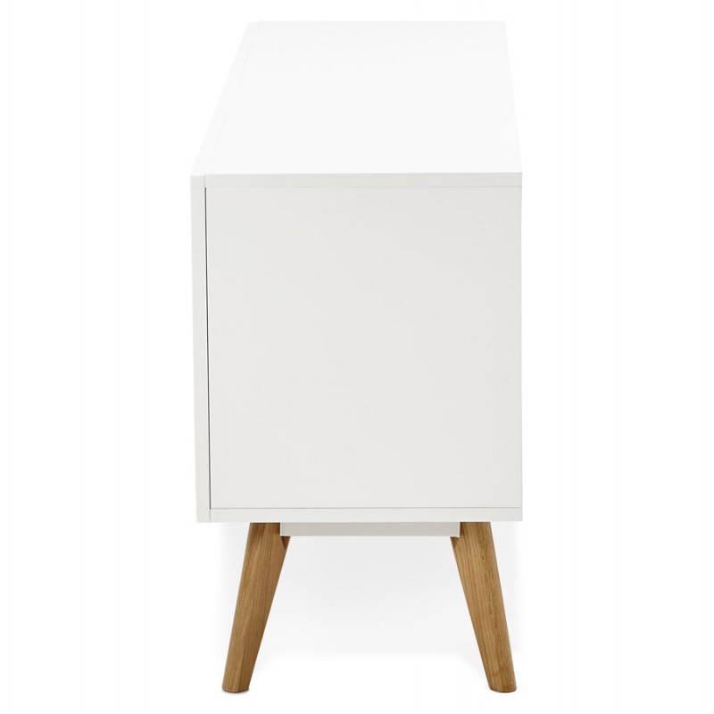 Buffet enfilade design style scandinave 2 portes KARL en bois (blanc mat) # Enfilade Bois Blanc