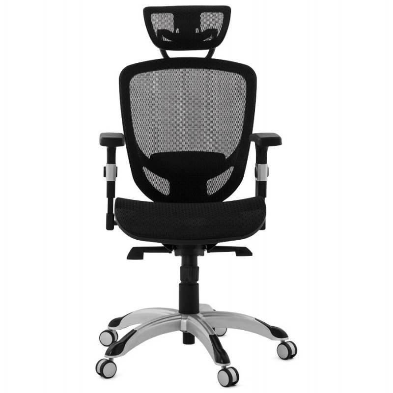 Fauteuil de bureau design et moderne ergonomique AXEL en tissu (noir) - image 28309