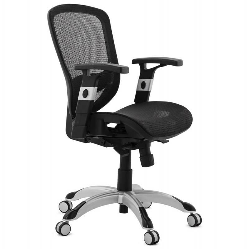 Fauteuil de bureau design et moderne ergonomique AXEL en tissu (noir) - image 28312