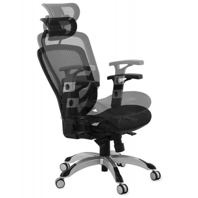 Fauteuil de bureau design et moderne ergonomique AXEL en tissu (noir) - image 28326