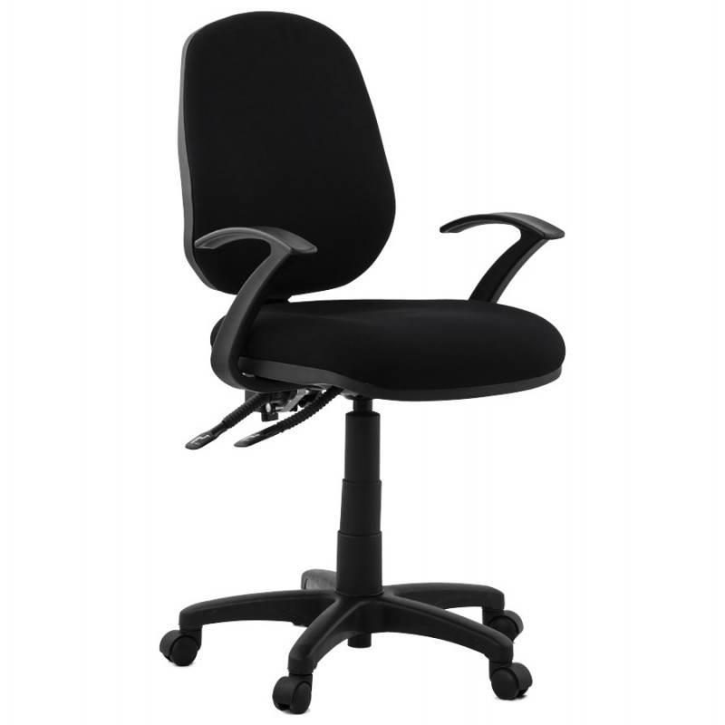 Chaise de bureau ergonomique à roulettes BELOU en tissu (noir) - image 28330