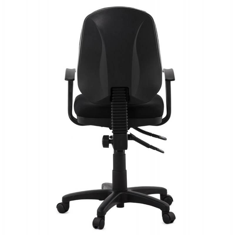 chaise de bureau ergonomique roulettes belou en tissu noir. Black Bedroom Furniture Sets. Home Design Ideas