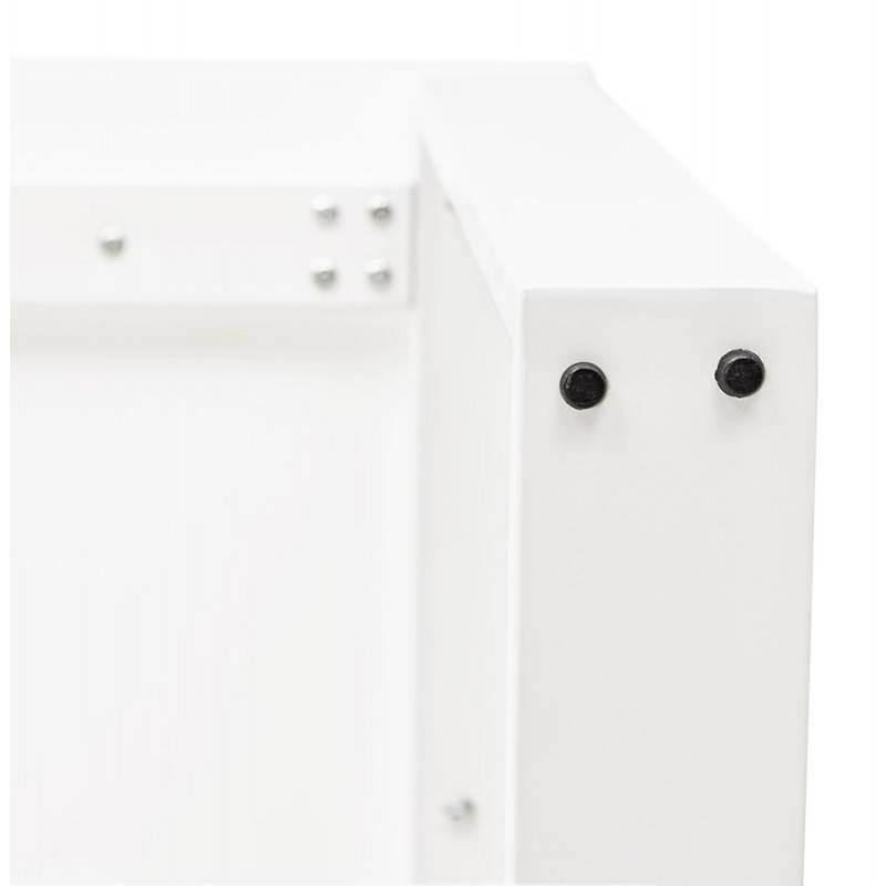 Bureau droit design ANTOUL en bois et métal (blanc brillant) - image 28353