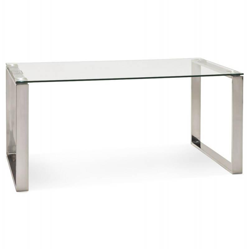 Bureau droit table design et contemporain INGRID en verre et acier chromé (transparent) - image 28359