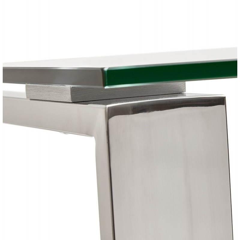 Bureau droit table design et contemporain INGRID en verre et acier chromé (transparent) - image 28363