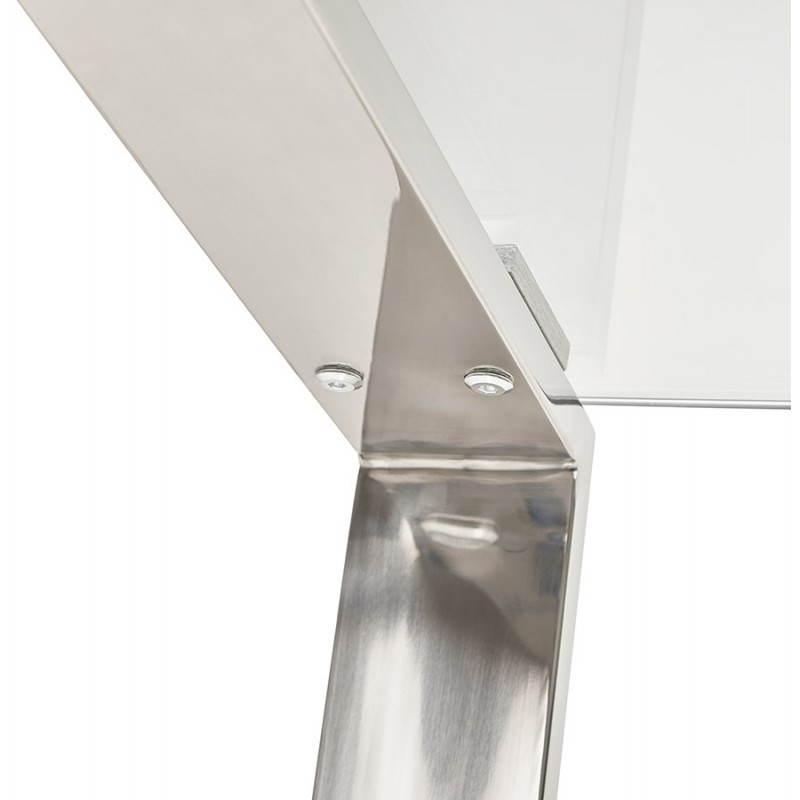 Bureau droit table design et contemporain ingrid en verre - Bureau verre et acier ...