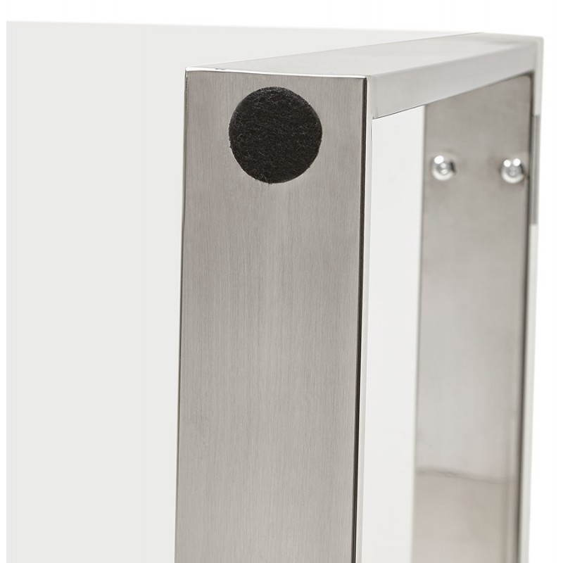 Bureau droit table design et contemporain INGRID en verre et acier chromé (transparent) - image 28367