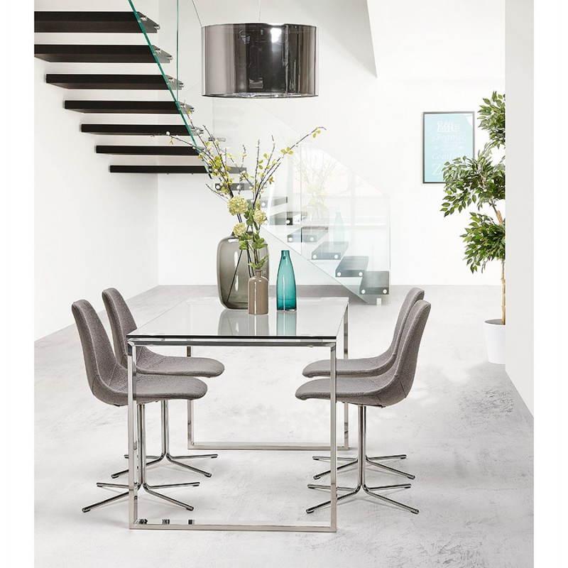 bureau droit table design et contemporain ingrid en verre et acier chrom transparent. Black Bedroom Furniture Sets. Home Design Ideas