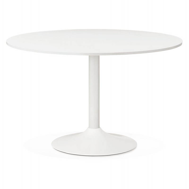 Office table or round design meal ASTA in wood and metal painted (Ø 120 cm) (white)