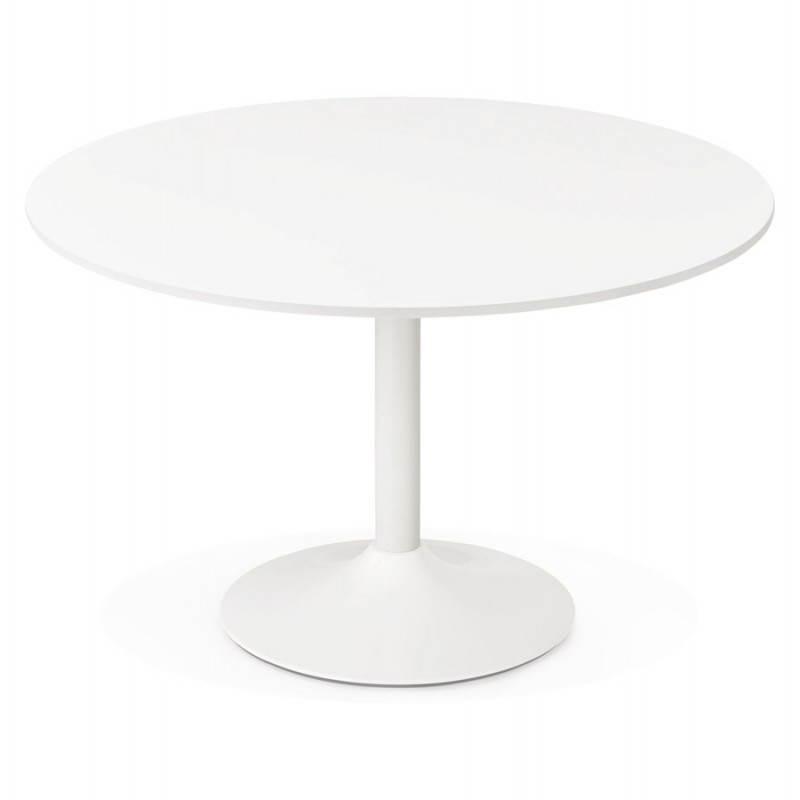 Table de bureau ou repas design ronde ASTA en bois et métal peint (Ø 120 cm) (blanc) - image 28373