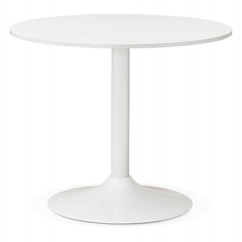 Table de repas ou bureau ronde design scandinave NILS en bois et métal peint (Ø 90 cm) (blanc) - image 28381