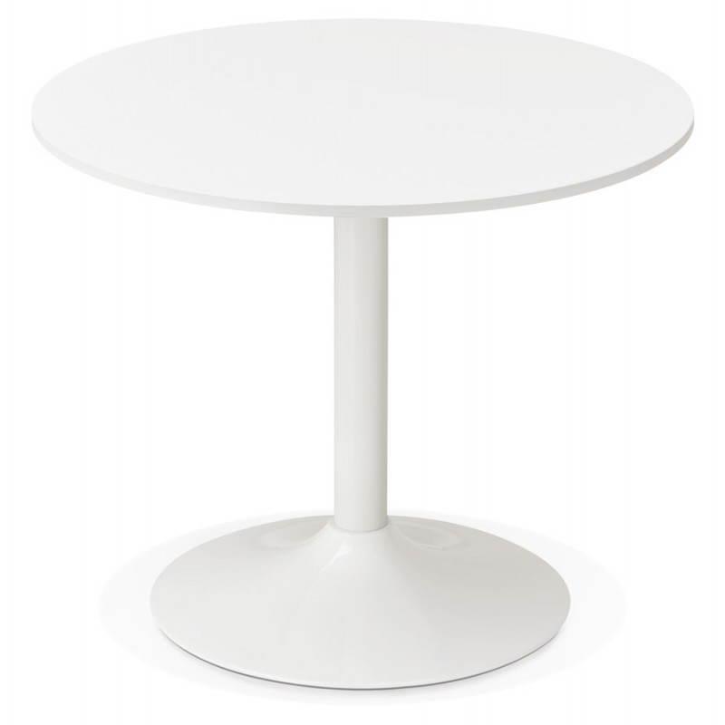 Table de repas ou bureau ronde design scandinave NILS en bois et métal peint (Ø 90 cm) (blanc) - image 28383