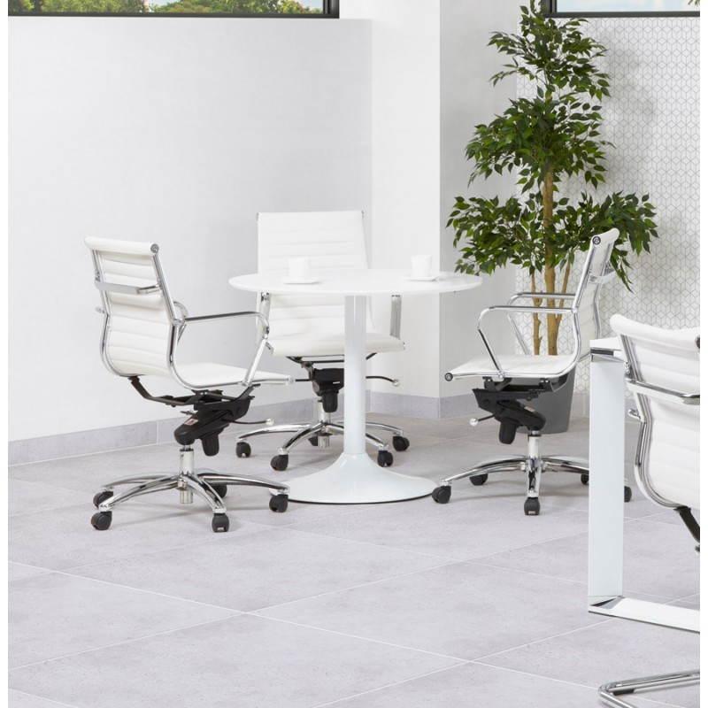 Table de repas ou bureau ronde design scandinave NILS en bois et métal peint (Ø 90 cm) (blanc) - image 28391