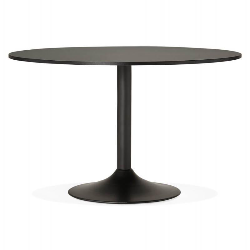 table de bureau ou repas design ronde asta en bois et m tal peint 120 cm noir. Black Bedroom Furniture Sets. Home Design Ideas