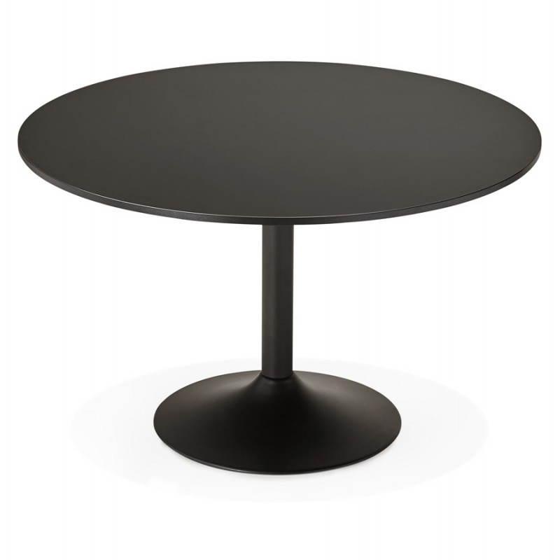 Table de bureau ou repas design ronde asta en bois et for Table de repas ronde