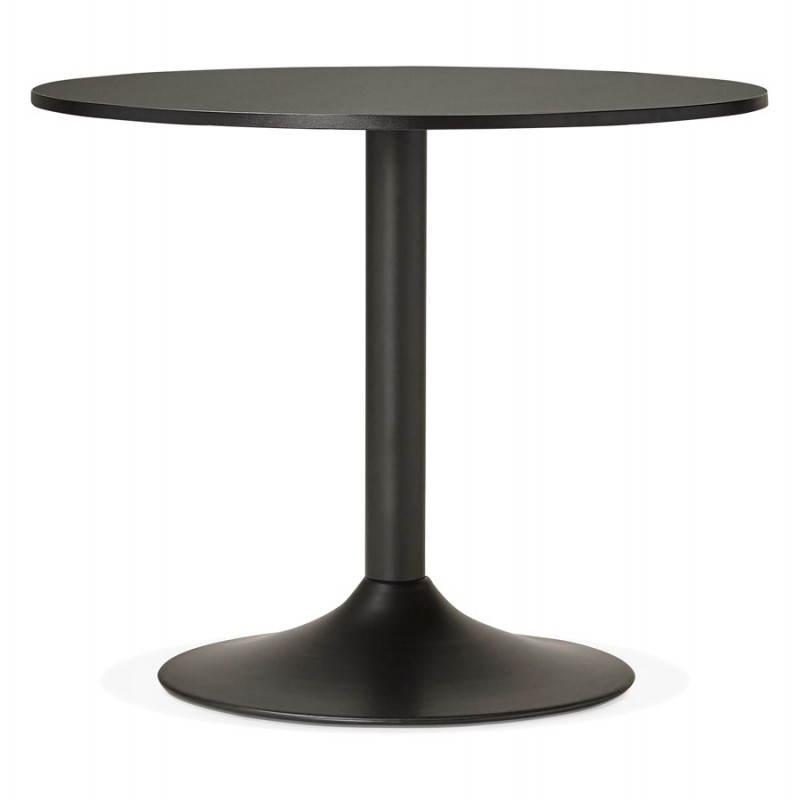 Mesa de comedor o escritorio diseño madera NILS y metal pintado (O 90 cm) (negro) - image 28403
