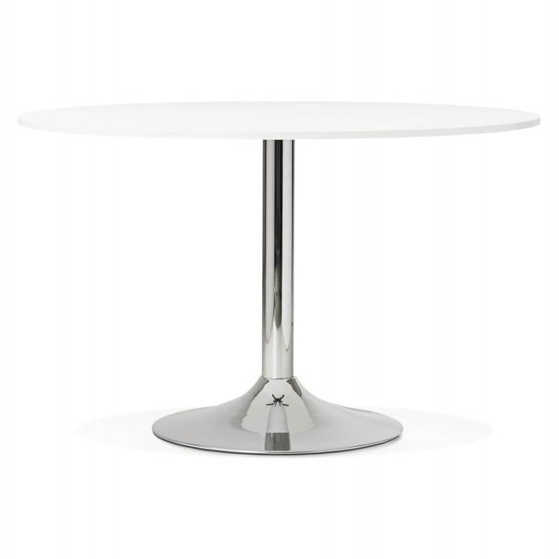 Table de bureau ou repas design ronde ASTA en bois et métal chromé (Ø 120 cm) (blanc) - image 28416