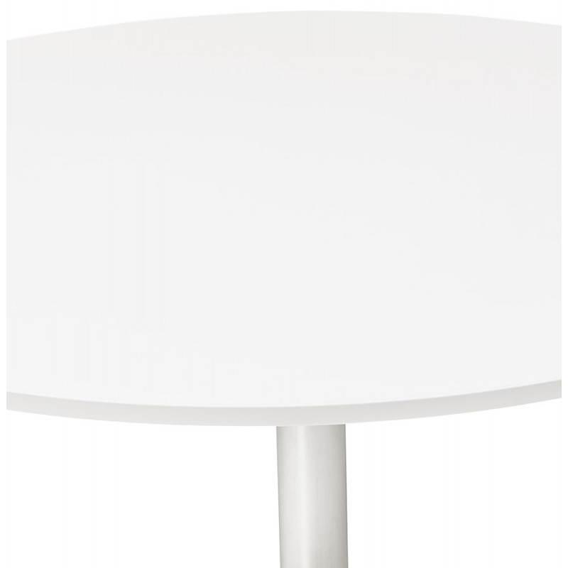 Table de bureau ou repas design ronde ASTA en bois et métal chromé (Ø 120 cm) (blanc) - image 28419