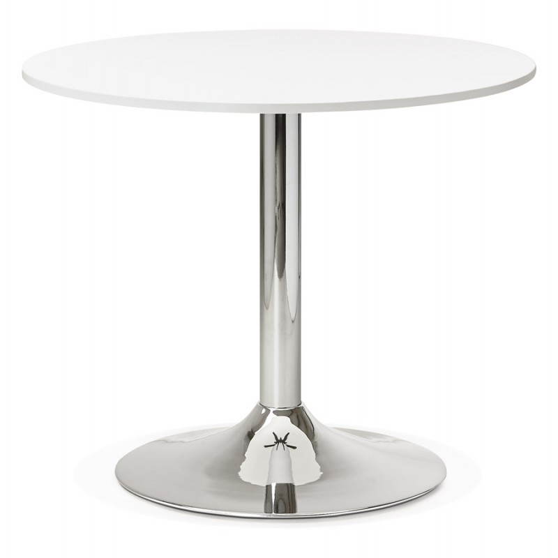 Dining table or desk round design NILS wood and metal chrome (O 90 cm) (white) - image 28425