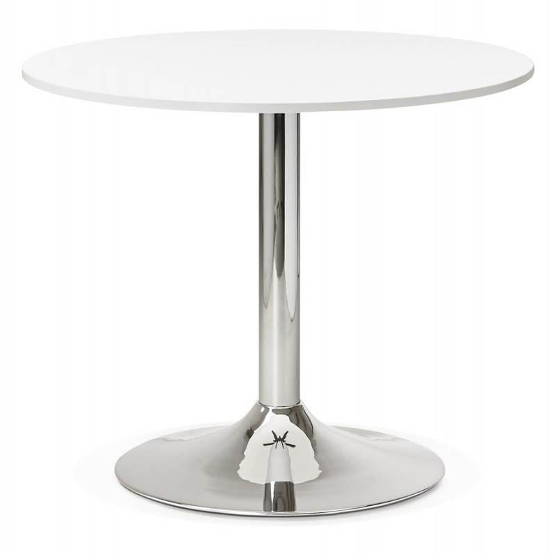 Table de repas ou bureau ronde design NILS en bois et métal chromé (Ø 90 cm) (blanc) - image 28425