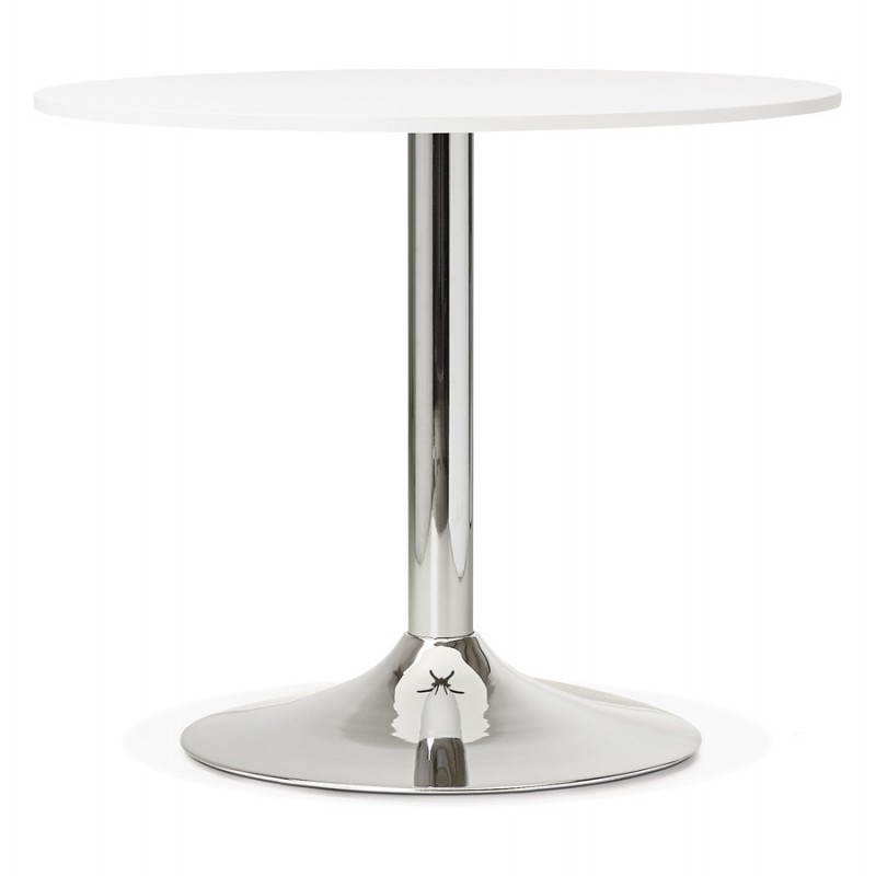 Dining table or desk round design NILS wood and metal chrome (O 90 cm) (white) - image 28426