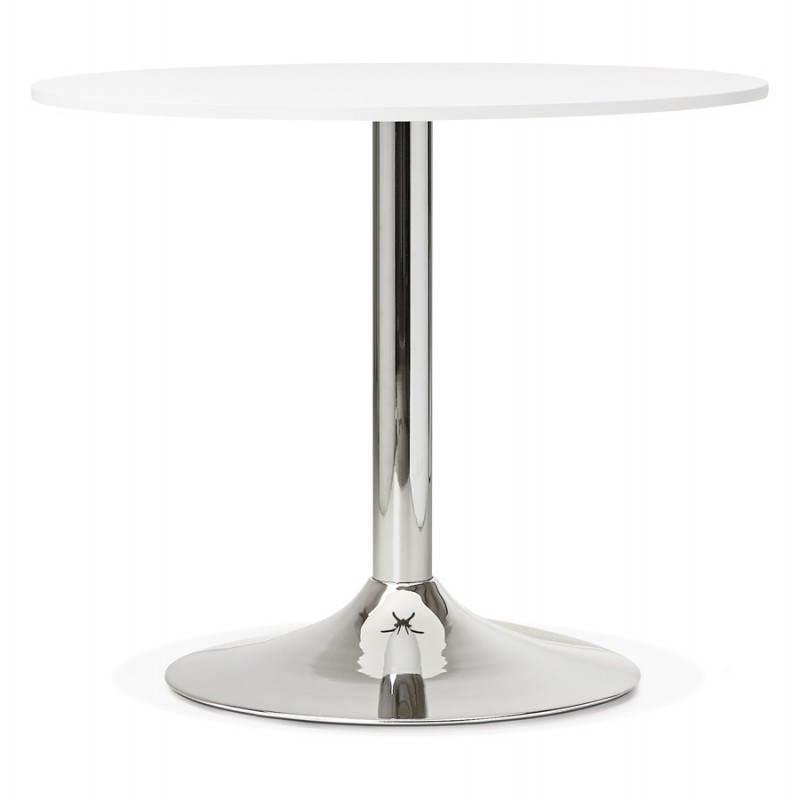 Table de repas ou bureau ronde design NILS en bois et métal chromé (Ø 90 cm) (blanc) - image 28426