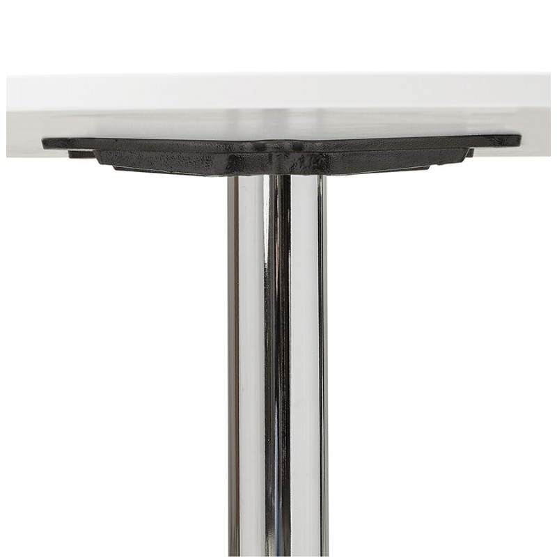 Dining table or desk round design NILS wood and metal chrome (O 90 cm) (white) - image 28431