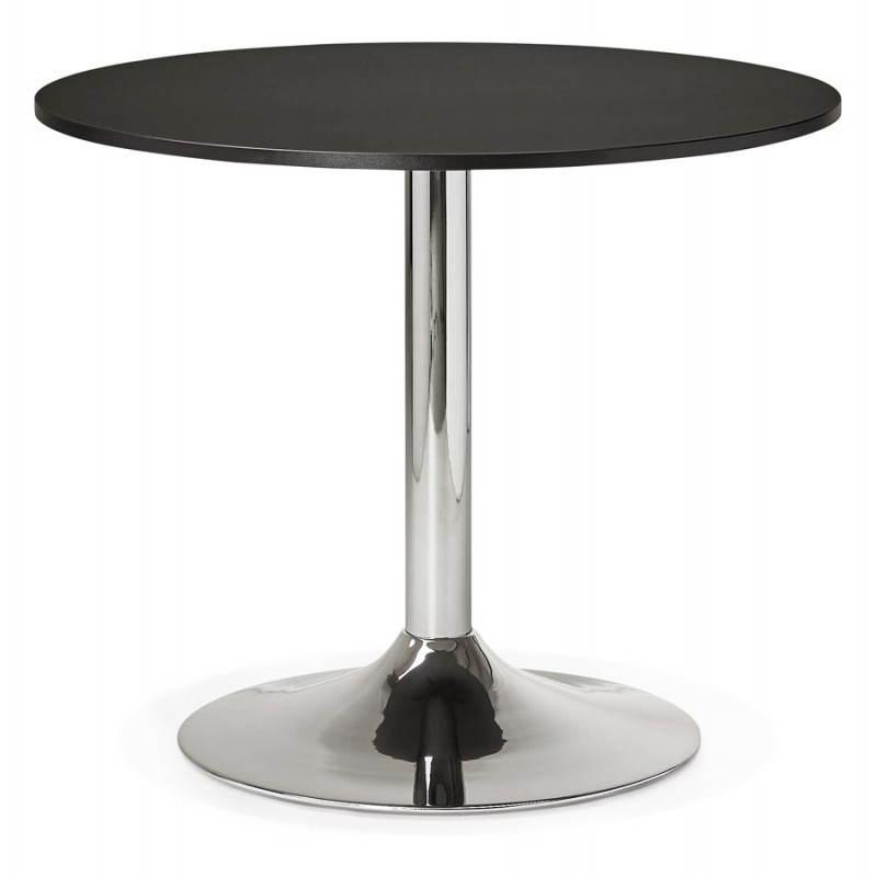 Table de repas ou bureau ronde design NILS en bois et métal chromé (Ø 90 cm) (noir)