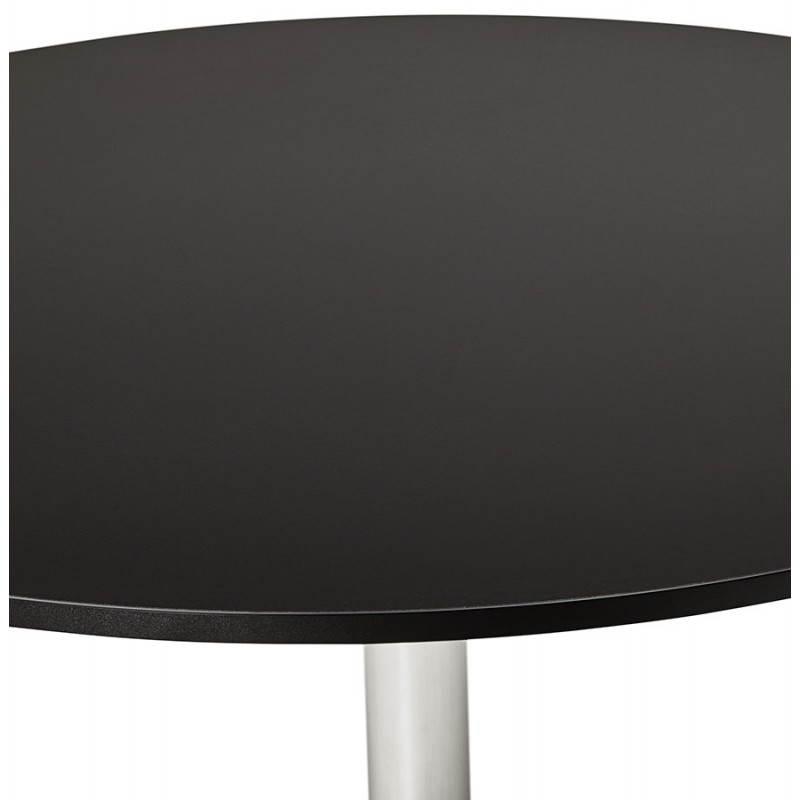Table de repas ou bureau ronde design NILS en bois et métal chromé (Ø 90 cm) (noir) - image 28449