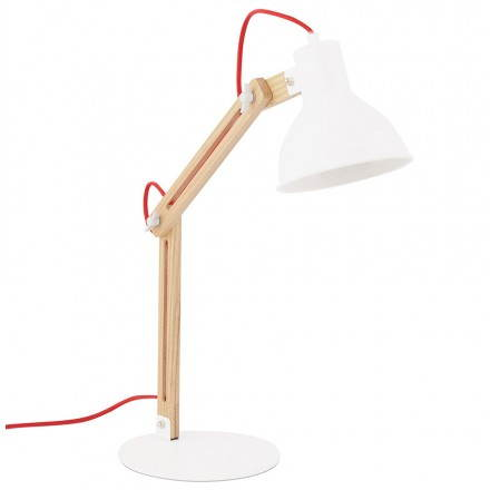 Lampe de table scandinave COTINGA MINI en bois et métal (blanc, naturel)