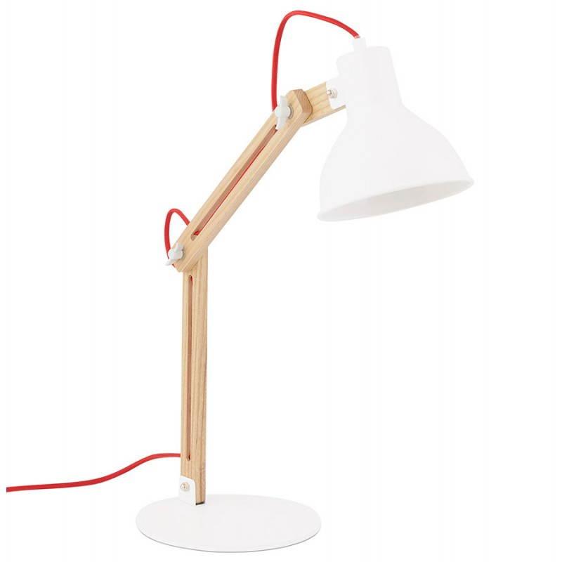 Lampe de table scandinave COTINGA MINI en bois et métal (blanc, naturel)