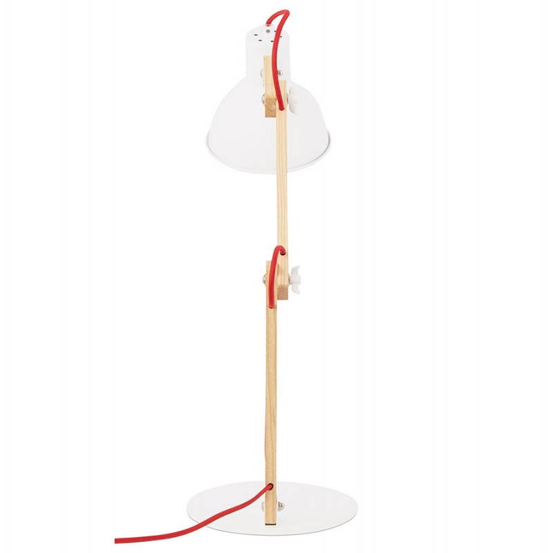Lampe de table scandinave COTINGA MINI en bois et métal (blanc, naturel) - image 28583