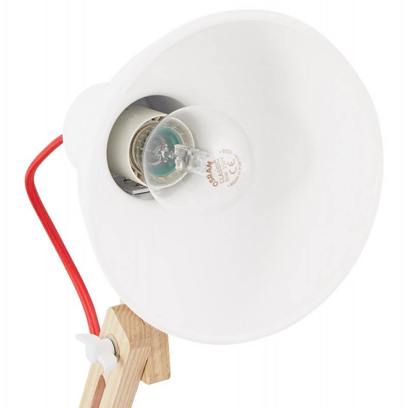 Lampe de table scandinave COTINGA MINI en bois et métal (blanc, naturel) - image 28588