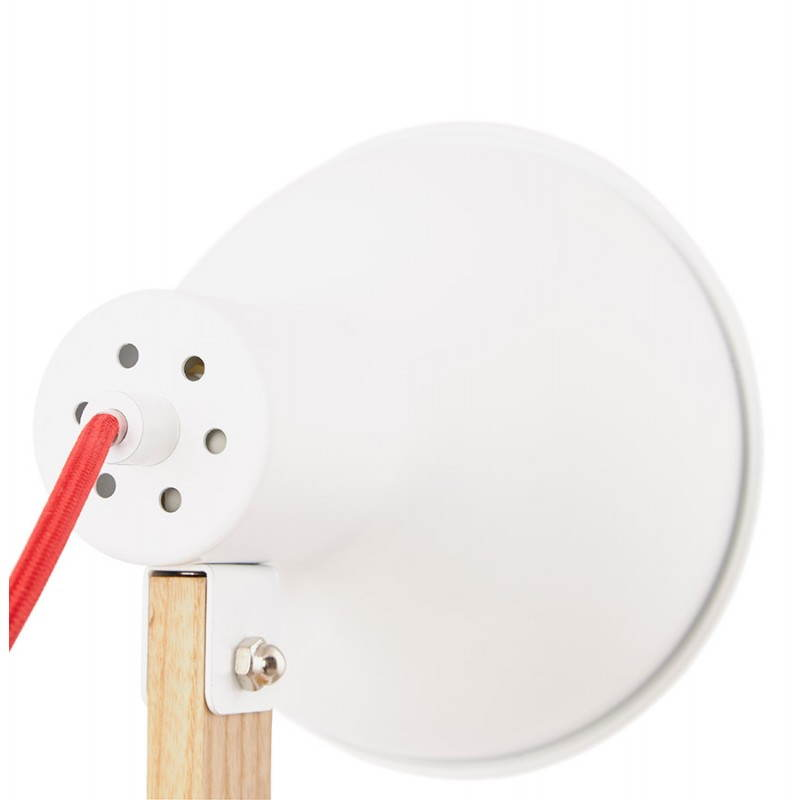 Lampe de table scandinave COTINGA MINI en bois et métal (blanc, naturel) - image 28591