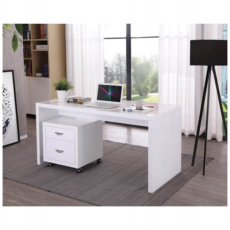 bureau droit design navigo en bois blanc laqu. Black Bedroom Furniture Sets. Home Design Ideas