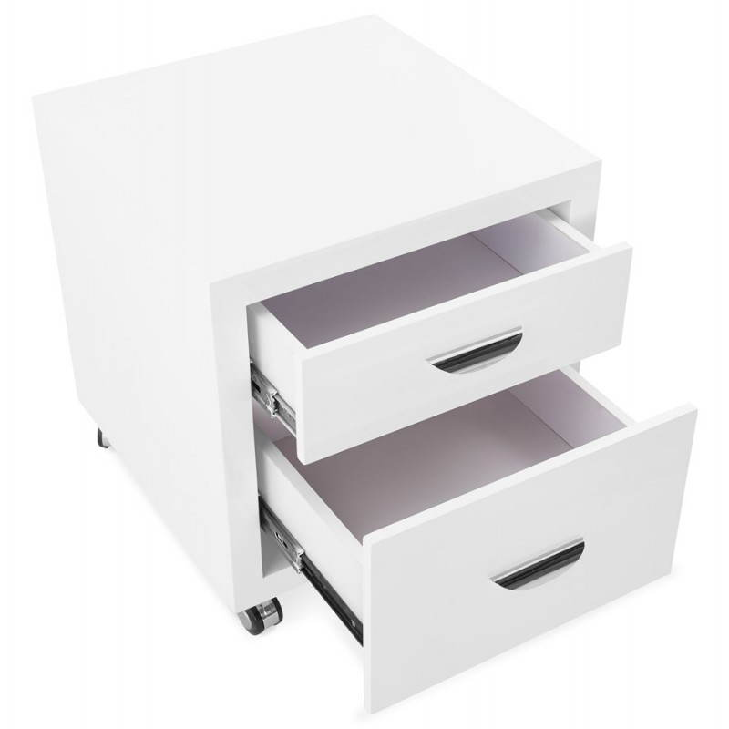 caisson de bureau 2 tiroirs forest en bois blanc laqu. Black Bedroom Furniture Sets. Home Design Ideas