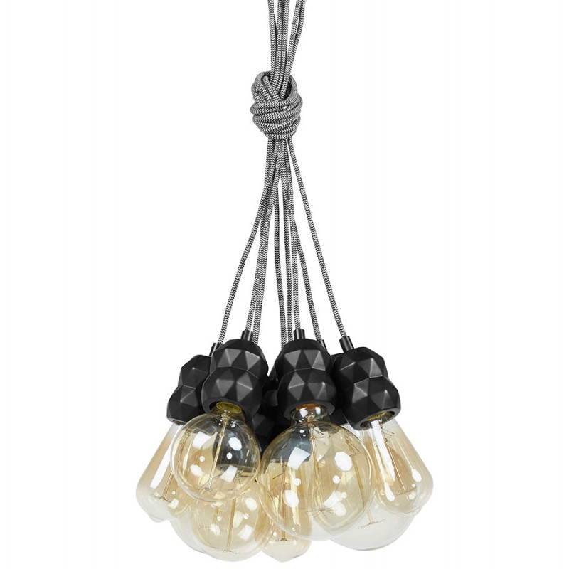 Suspension 9 douilles moderne grappe noir for Suspension moderne noir
