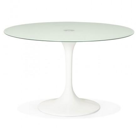 Table ronde design MARJORIE en verre (Ø 120 cm) (blanc)