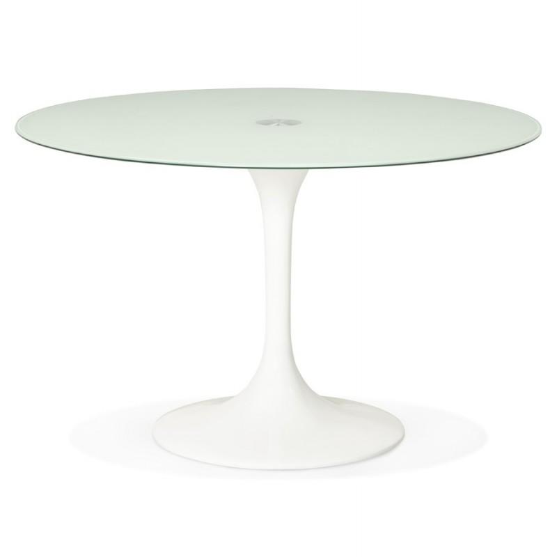table ronde design marjorie en verre 120 cm blanc. Black Bedroom Furniture Sets. Home Design Ideas