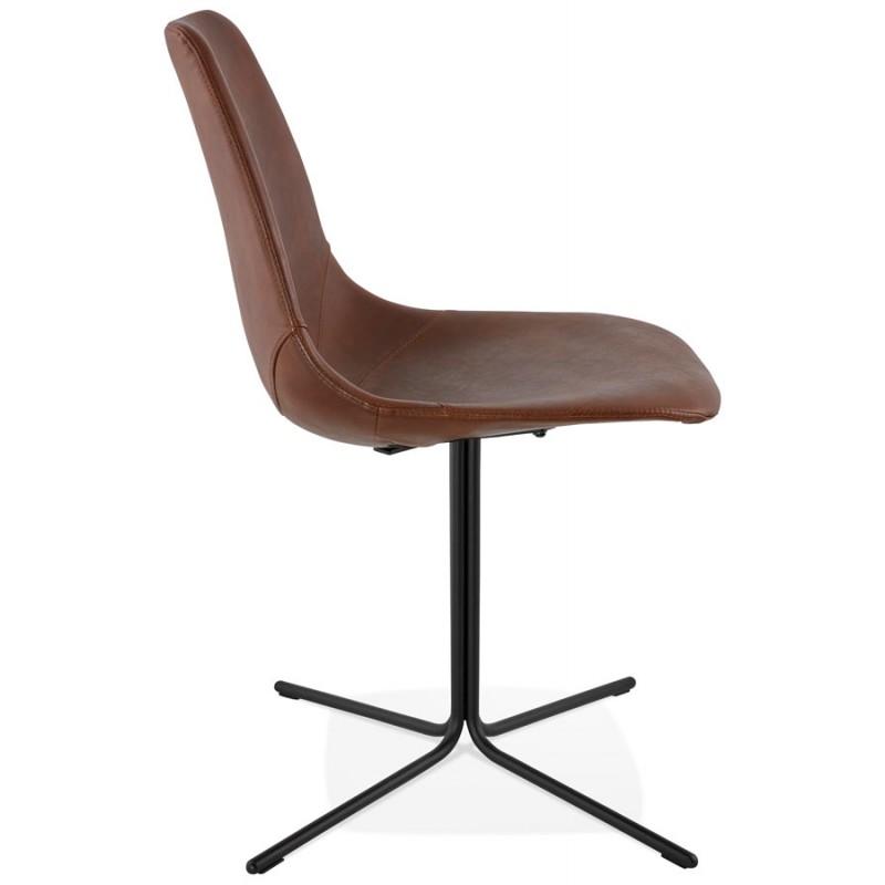 chaise industrielle ofen en polyur thane et m tal peint marron noir. Black Bedroom Furniture Sets. Home Design Ideas