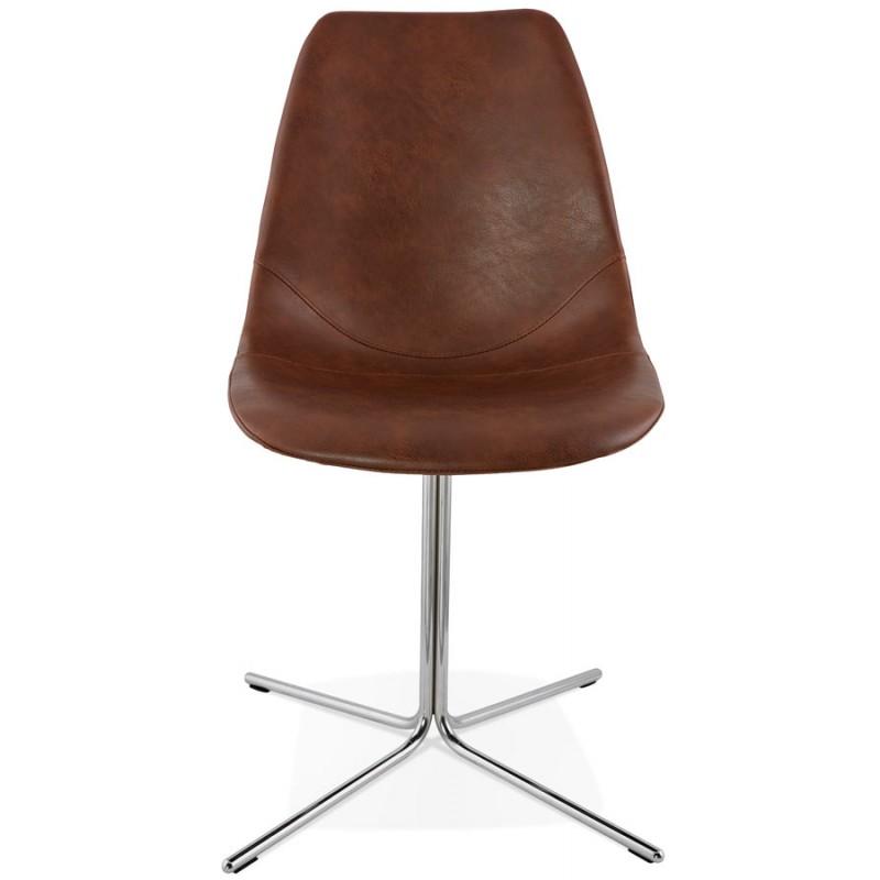 Chaise design OFEN en polyuréthane et métal chromé (marron, chrome) - image 29010