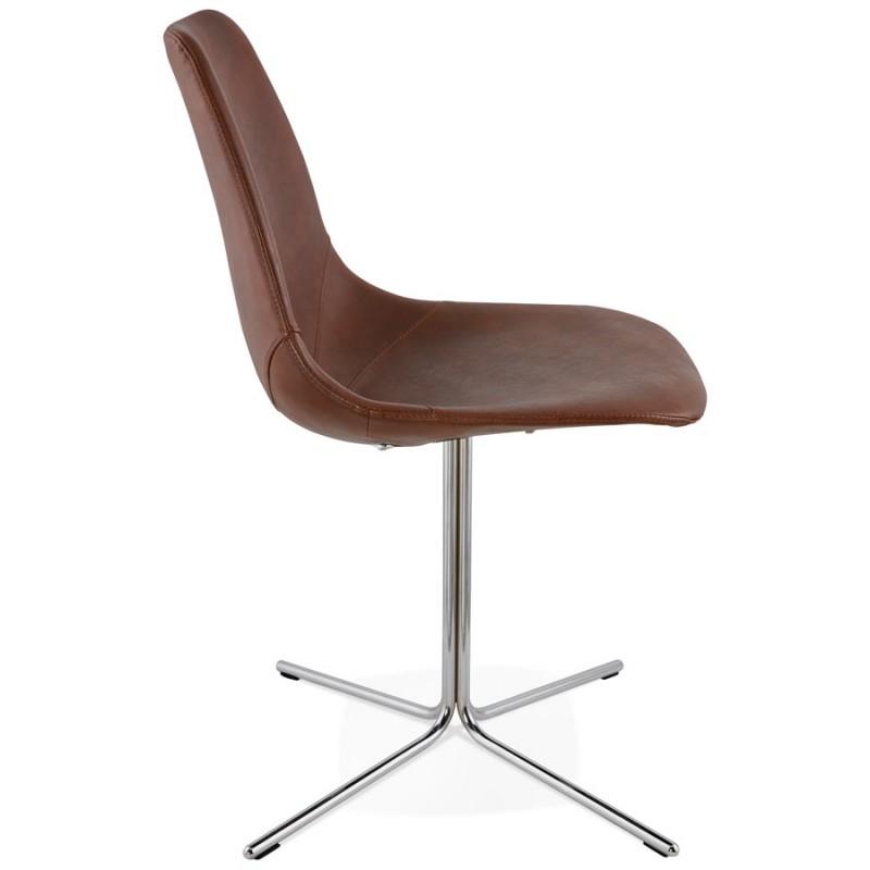 Chaise design OFEN en polyuréthane et métal chromé (marron, chrome) - image 29011