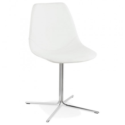 Design chair OFEN in polyurethane and chrome metal (white, chrome)